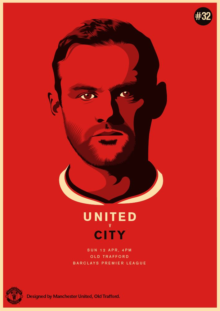 Match poster: Manchester United vs Manchester City, April 12, 2015. Designed by @manutd #MUFC #DERBYDAY #IAMRED