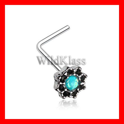 Lotus Opal Sparkle Filigree Icon L Shaped Nose Stud Ring 316L Surigcal Steel