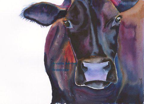 Black Angus cow,bull,animal wall art, western wall decor, western art,farm art,rustic wall art,watercolor animals, giclee black