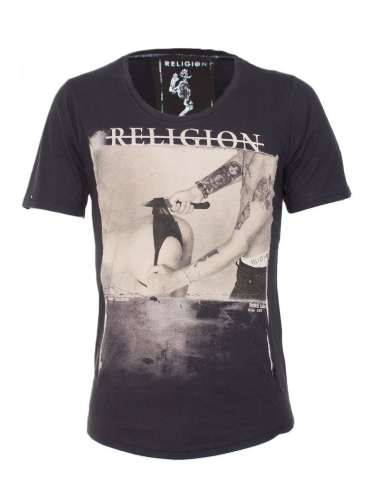 Religion Clothing T Shirt Cut The Knickers Scoop Neck In Washed Black