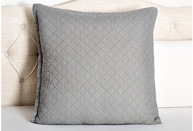 Emily Diamond Euro Sham, Ash Gray on OneKingsLane.com
