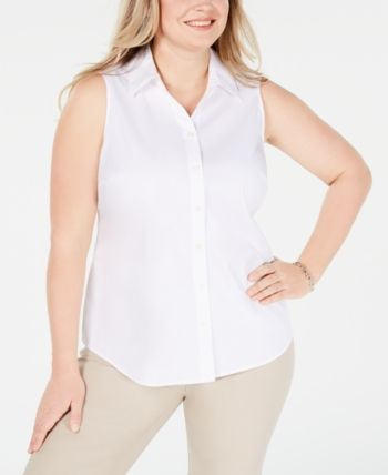 Charter Club Plus Size Top, Created for Macy's – White 18W