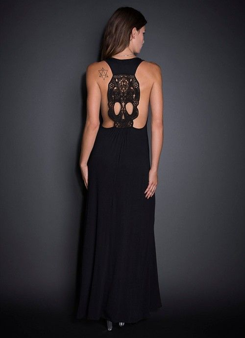 See You Monday Embroidered Skull Back Maxi Dress | Blackheart Fashion