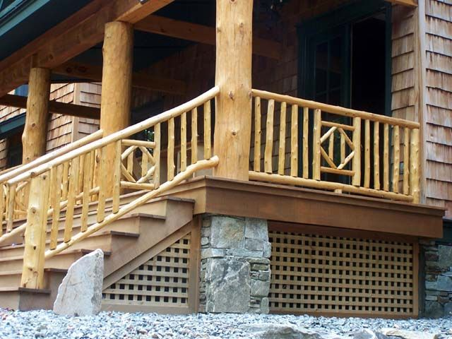 Rustic Wooden Branch Balusters Deck Railing Ideas