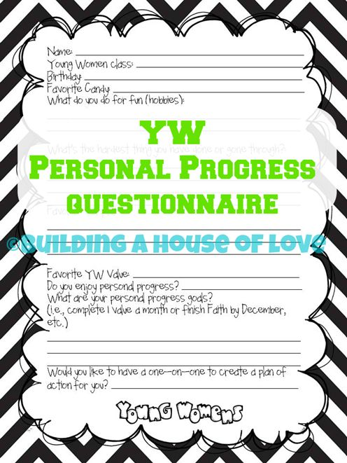 Young Womens Personal Progress