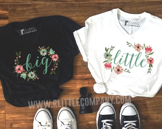 Big Little Floral Family Unisex Vneck Shirt S-XXL