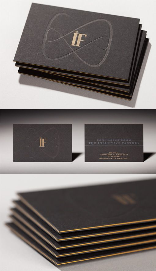 Sleek Black Edge Painted Letterpress Business Card Design