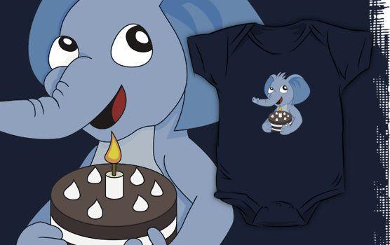 Elephant birthday cartoon by Radka Kavalcova