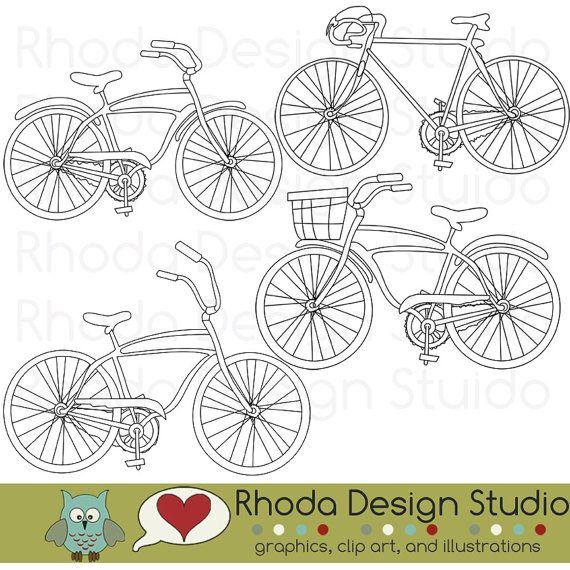 Retro Bikes Digital Clip Art Vintage Bicycles by RhodaDesignStudio, $ 5.95