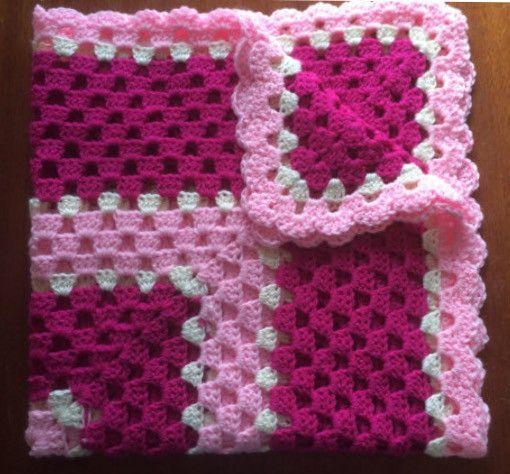 Pink Baby Blanket - Crochet Granny Square