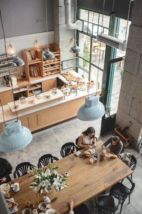 Cafe Interior | Restaurant Design | Bakery Ideas - overhead lighting, communal table