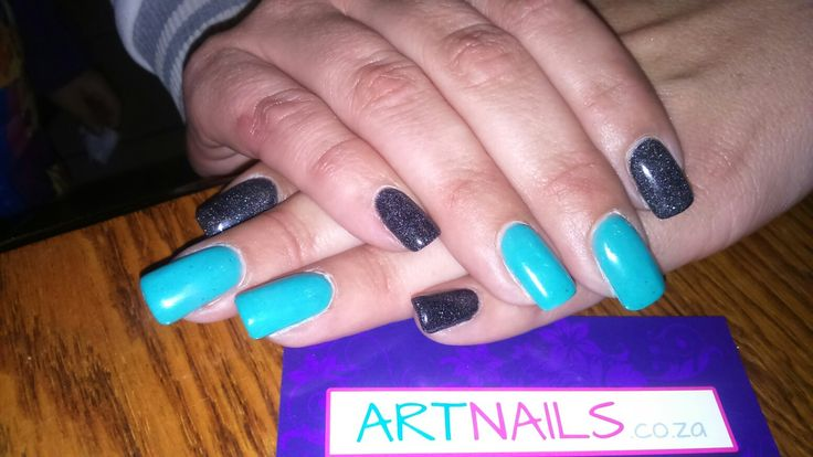 Black and silver glitter mix and turquoise acrylic nails I did