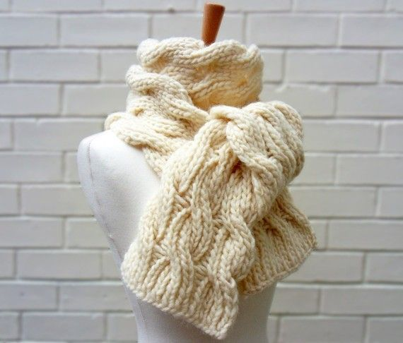 Classic chunky-knit scarf, $78 from #KnitFrekkles on Etsy