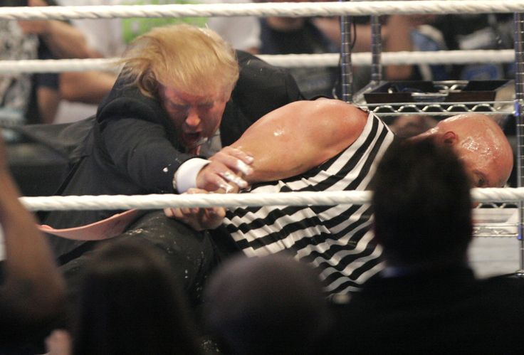 DETROIT - APRIL 1: Donald Trump gets taken to the mat by 'Stone Cold' Steve Austin after the the Battle of the Billionaires at the 2007 World Wrestling Entertainment's Wrestlemania April 1, 2007 at Ford Field in Detroit, Michigan. (Photo by Bill Pugliano/Getty Images) via @AOL_Lifestyle Read more: https://www.aol.com/article/news/2017/04/01/white-house-jared-kushner-ivanka-trump/22021302/?a_dgi=aolshare_pinterest#fullscreen