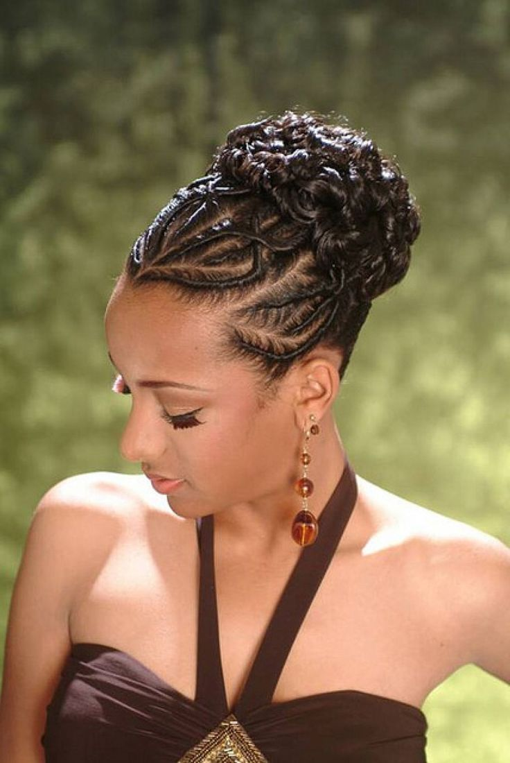 African American French Braid Updo Hairstyles Hair