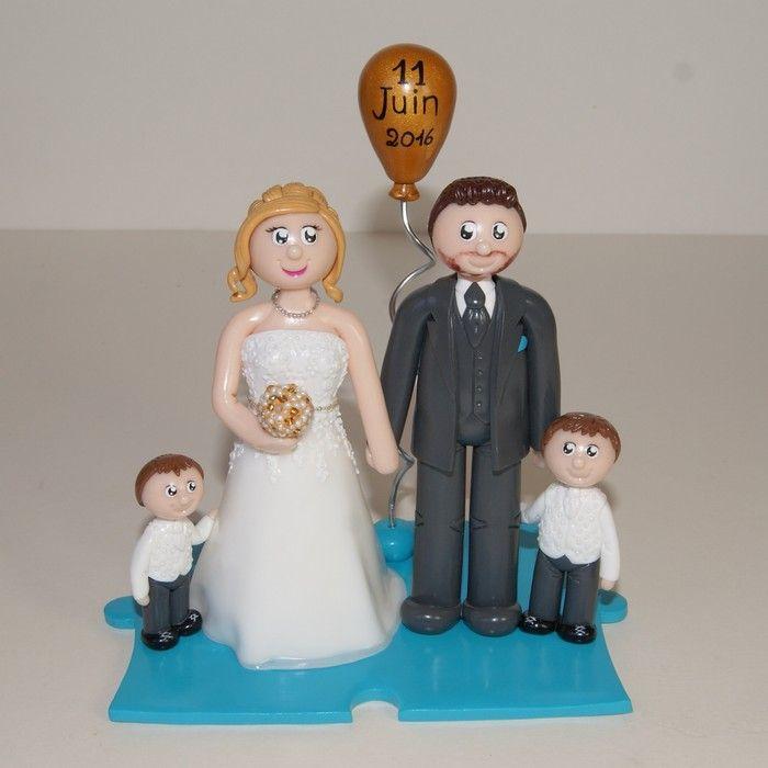 Wedding cake topper / figurines de mariage personnalisées / famille / enfant