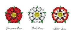 The wars of the roses: the red rose of Lancaster vs. the white rose of Yorkshire. The Tudor rose combined both flowers.