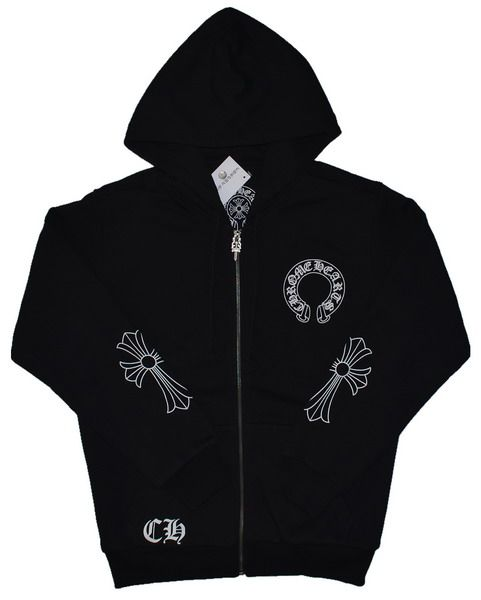 Black Cotton hoodie jacket by chrome hearts. Horseshoes logo front. Black Chrome Hearts Horseshoes CH Logo Hoodie. Small signature cross printed on both sleeves. CH Letter detail front. CH Logo back. Cotton. Imported. http://www.chromeheartsonlineoutlet.com/
