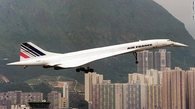 One of the most beautiful sights at Kai Tak -- Air France's retired Concorde makes an elegant takeoff.