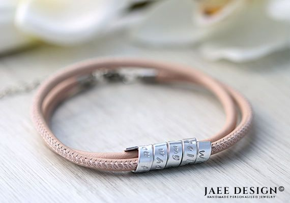 Birthday gift Leather Personalized Bracelet Women Hand Stamped Secret message Swarovski jewelry Mothers day Anniversary Friendship gift by Jaeedesign on Etsy https://www.etsy.com/listing/522408897/birthday-gift-leather-personalized