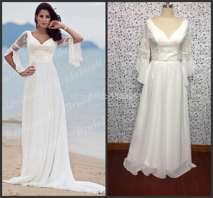 Большие скидки высокое качество белый кот половина рукава V шеи суд поезд белый шифон свадебные платья Z454
