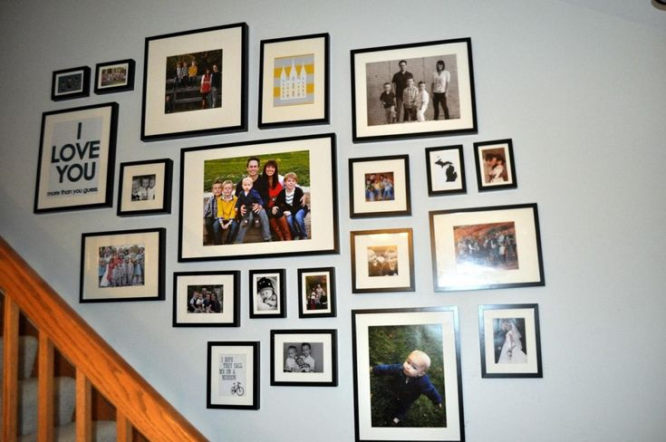 family-picture-hanging-ideas-for-hallway-staircase-design-with-black-frame-on-blue-wall-ideas