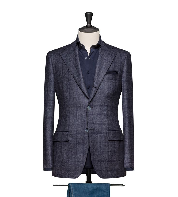 This cloth is a Dark Blue Sharkskin with a Navy Windowpane. Cloth Weight: 280 Composition: 72% Wool, 13% Silk, 12% Linen and 13% Cashmere.
