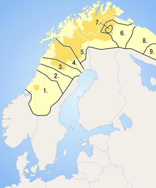 Map of Fennoscandia showing the distribution of Sami languages:  1. Southern Sami,  2. Ume Sami,  3. Pite Sami,  4. Lule Sami,  5. Northern Sami, 6. Skolt Sami,  7. Inari Sami,  8. Kildin Sami,  9. Ter Sami  -  Saamelaiskielten entinen levinneisyys, tummemmalla nykyalue:  1. eteläsaame,  2. uumajansaame,  3. piitimensaame,  4. luulajansaame,  5. pohjoissaame,  6. koltansaame,  7. inarinsaame,  8. kiltinänsaame,  9. turjansaame Picture from Wikipedia