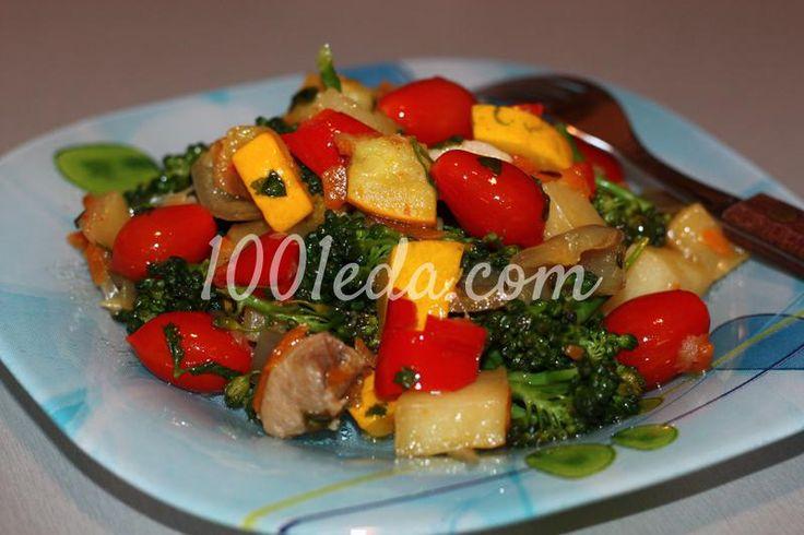Ароматное овощное рагу с куриной грудкой и черри
