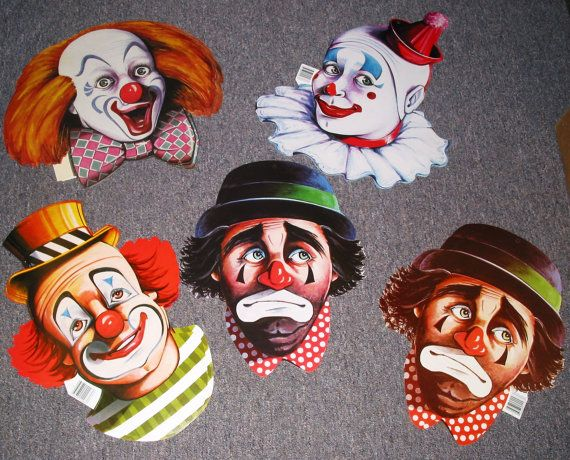 Vintage Circus Clown Faces Cutout Decorations by TheVintageEvent, $4.00