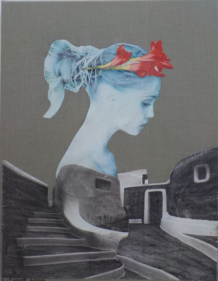 K I Simos - flower crown - paper +  fabric on canvas