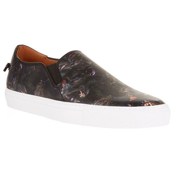 Givenchy Screaming Monkey Slip-On Sneakers ($660) ❤ liked on Polyvore featuring men's fashion, men's shoes, men's sneakers, mens slip on shoes, mens summer shoes, mens slip on sneakers, givenchy mens shoes and mens slipon shoes