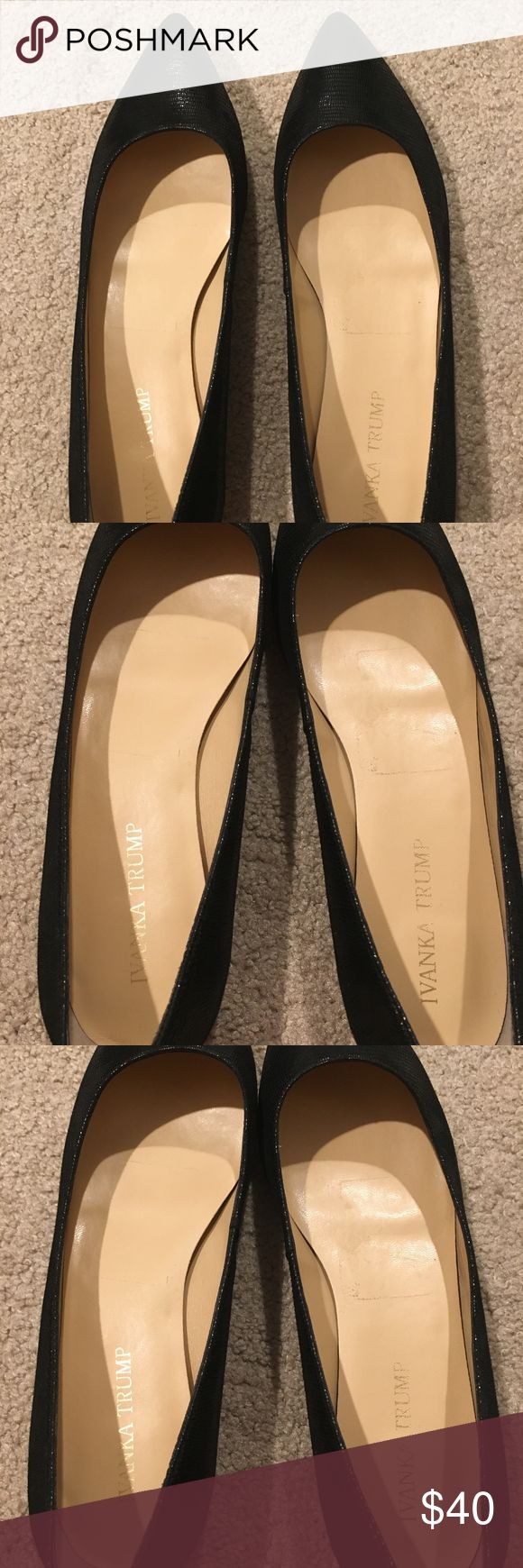Ivanka Trump Black Flats Ivanka Trump Chic 4 Black Flats for sale. Beautiful color with a small pattern. Perfect condition with extremely minimal wear, only wear is on the bottom of the shoe. Very comfortable with a small wedge at the bottom. Size 9. Exact shoe currently found from Zappos for $99.95. Ivanka Trump Shoes Flats & Loafers