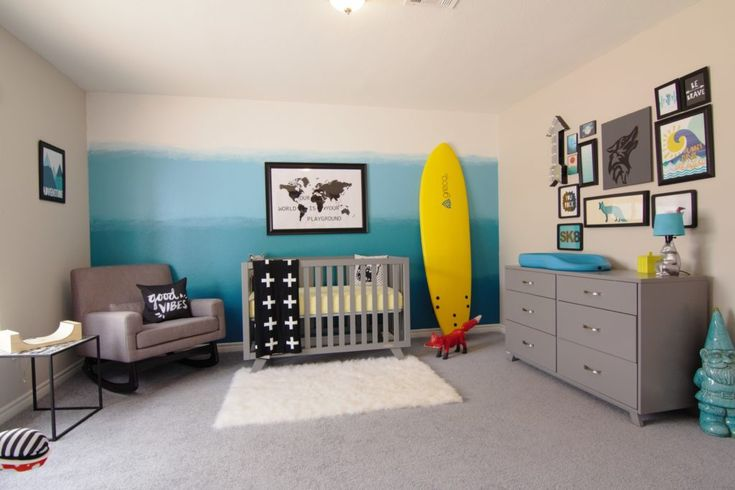 A Skater/Surfer Adventure Seeker's Oasis Nursery - love the mod feel of this room + that amazing ombre wall!