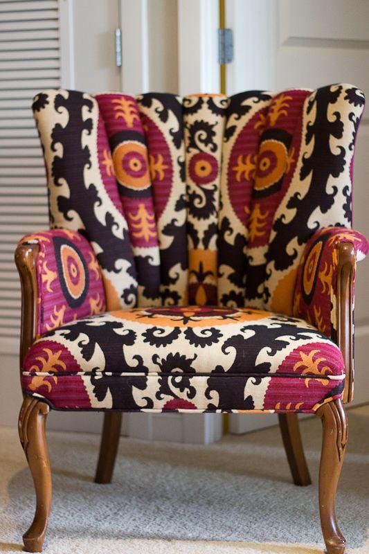 Amazing! Craigslist Chair makeover! (Front Fabric: Vervain Suzani Sun | Back Fabric: Fabricut Titanium)