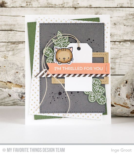 Handmade card from Inge Groot featuring Distressed Patterns stamp set, Birdie Brown Cool Cat and Lisa Johnson Designs Geometric Greenery stamp sets and Die-namics, Traditional Tags STAX and Stitched Rectangle STAX Die-namics #mftstamps