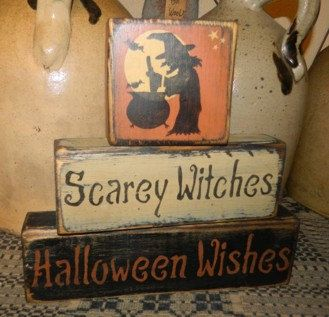 Scaey Withes Halloween Wishes Primitive Block by Heresyoursignprim, $19.99