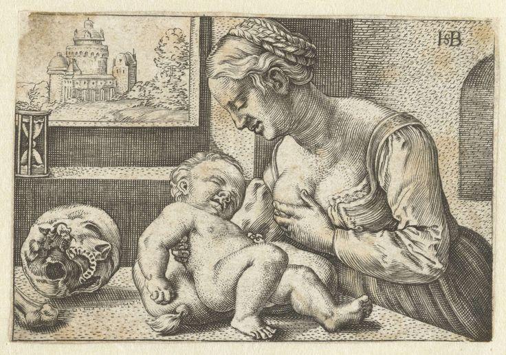 Maria geeft kind de borst en schedel, anoniem, Barthel Beham, 1512 - 1590