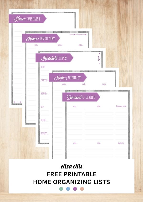 Free Printable Home Organizing Lists including Home Wishlist, Home