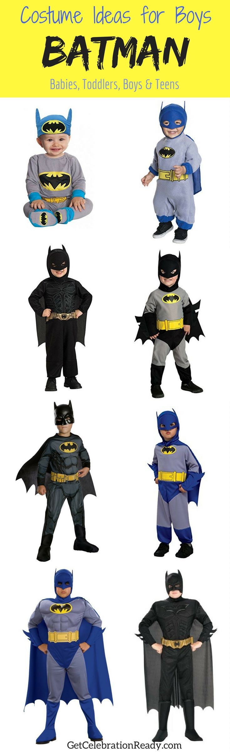 Looking for Halloween boys costumes? Batman is perfect because there are so many Batman movies and TV shows to choose your favorite Batman costume from. Whether it's The Dark Knight, Batman v Superman: Dawn of Justice or the Justice League movie you like, there's a different Batman costumes from each. Click the image to see them all.
