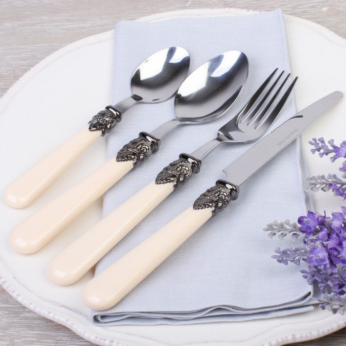 This beautiful French antique cream 24 piece cutlery set would add that extra sparkle to any dinner table. Comprising of six Tea spoons, six Dessert Spoons, six Dinner Fork and six Dinner Knife Made from 100% stainless steel that is secured perfectly into an antique ivory handle made from acrylic with a crest feather design that makes this cutlery range more sophisticated and elegant. This cutlery range would make a wonderful and thoughtful gift for a wedding present or house warming gift…