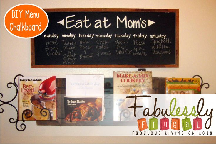 DIY Menu Chalkboard - plan out your weekly menu by shopping from your pantry. Writing it down helps you stay on target and use what you have on hand to plan delicious meals for your family. http://fabulesslyfrugal.com/2012/06/diy-menu-chalkboard.html