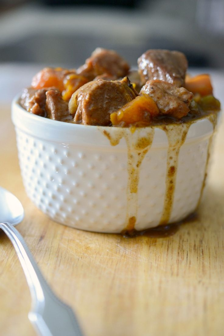 Crock Pot Hungarian Pork Stew-Tender center cut pork loin combined with root vegetables in a Hungarian sweet paprika and red wine gravy; then simmered slowly in your crock pot.
