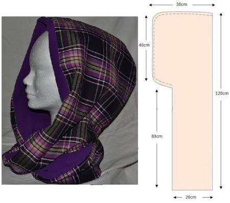 319 Башлык (шарф с капюшоном) . Можно связать, а можно сшить из любой ткани или меха... ещё вариант выкройки