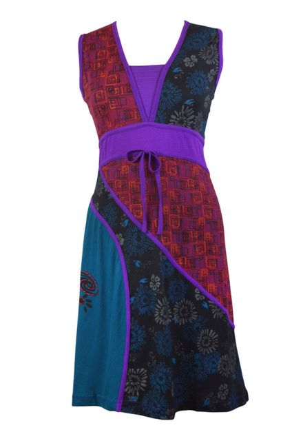 Ladies Sleeveless V-Neck Design Dress with Embroidery - PURPLE DAISY