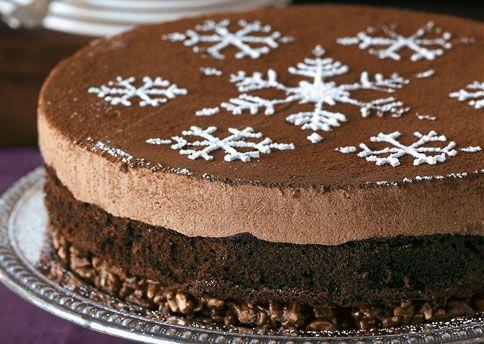 milk chocolate mousse cake with hazelnut crunch crust recipe. layers of chocolate mousse made with gianduja, the luscious Italian hazelnut-flavored milk chocolate, and chocolate genoise top a base of hazelnut crunch.