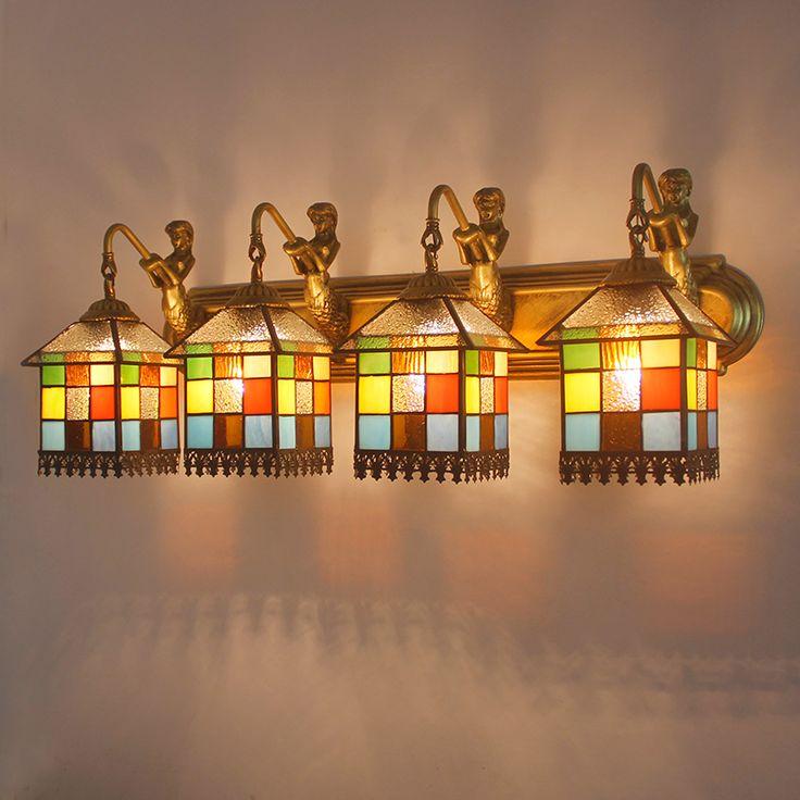 Tiffany LED Mediterranean bathroom mirror Wall lights Restroom bathroom vanity cabinet makeup mirror lamp Wall Lamps DF25 #Affiliate