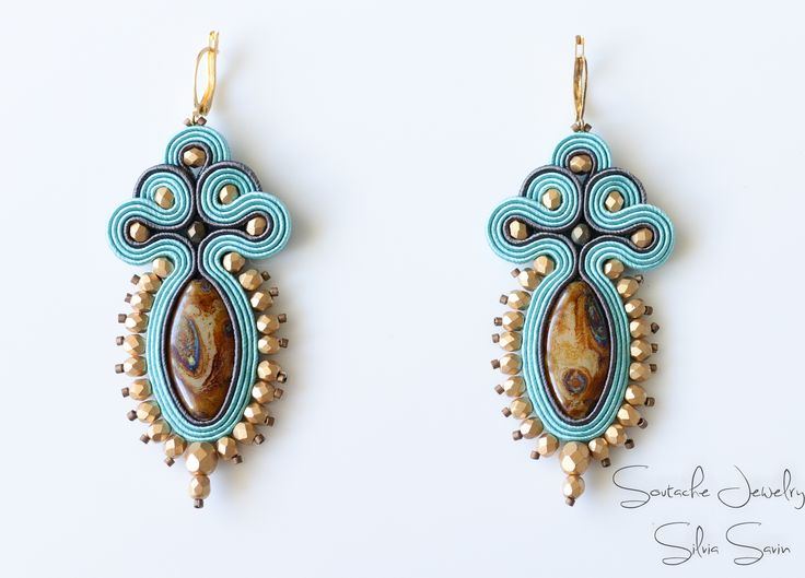 Turquoise and Gold Handmade Soutache earrings