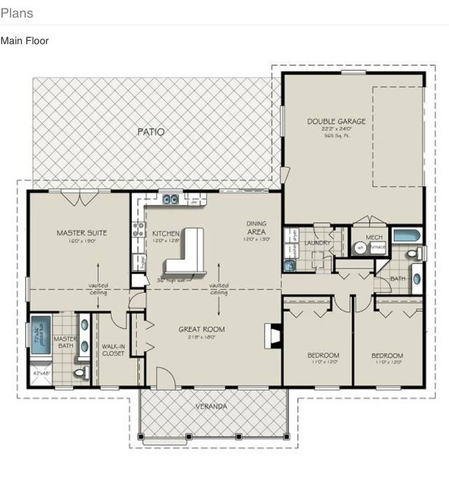 1900 sq ft; I'd. Enter the front door, combine kids' room into one, take the peninsula off the island and bring it in closer to the stove, French doors swinging out for dining and master, bring coat closet down towards front wall