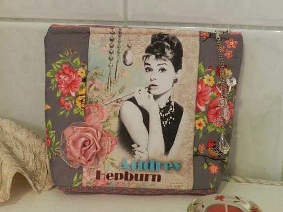 Cosmetic bag Make Up bag Audrey Hepburn fabric cosmetic bag